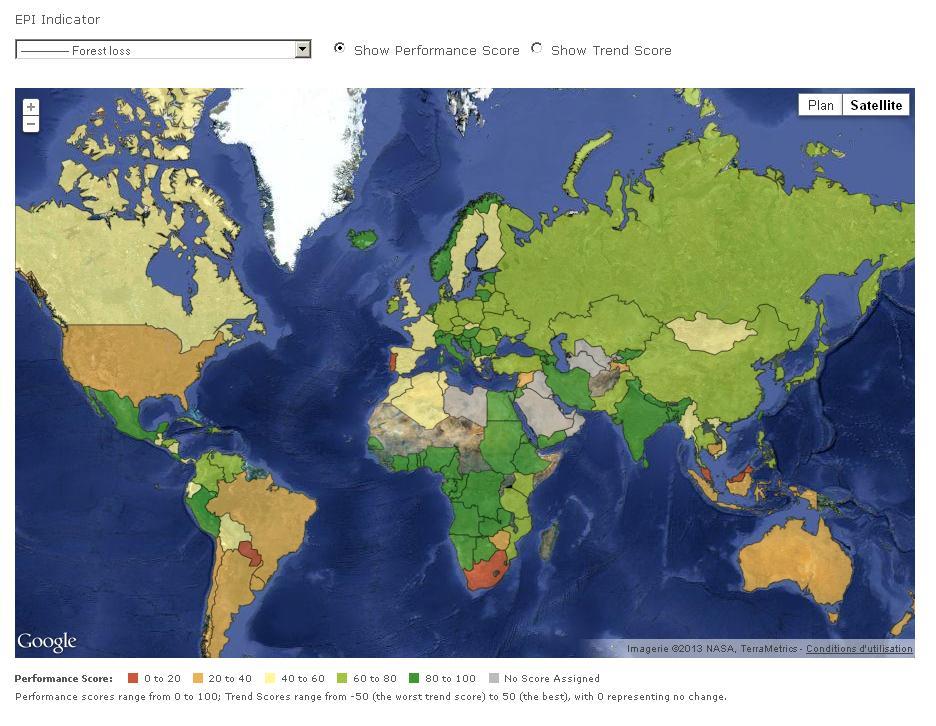 L'indice EPI permet de constater la disparition progression des forêts dans certaines régions du monde.