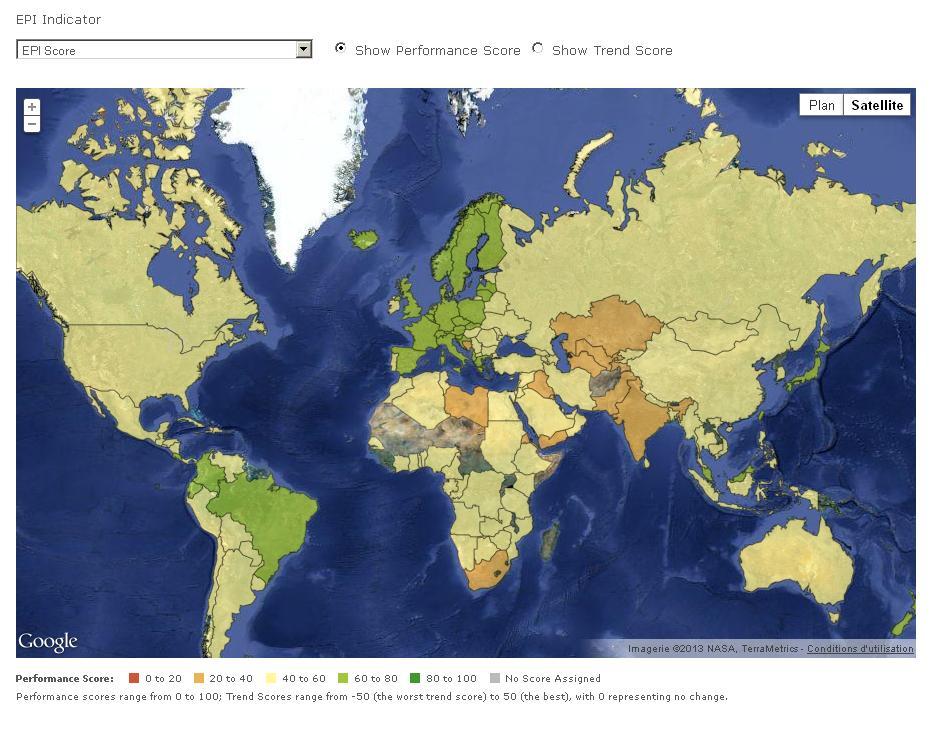 L'indice EPI permet de constater quel pays est le plus tourné vers l'environnement.